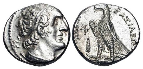 Ancient Coins - PTOLEMAIC KINGDOM.  Ptolemy II Philadelphos, 285-246 BC.  AR Tetradrachm (14.25 gm) of  Tyre.   Diademed head of Ptolemy I / Eagle on thunderbolt.  BMC.37.  Near Mint.