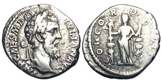 Ancient Coins - DIDIUS JULIANUS, Mar-Jun 193 AD.  Æ Denarius (3.00 gm).  Laureate head / Concordia standing holding two standards.  RIC.1(R3).  Toned VF.  Very Rare.