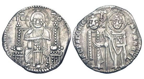 World Coins - ITALY, Venice.  Bartolomeo Gradenigo, 1339-1342 AD.  AR Grosso.  Saint Mark and the Doge standing, holding flag / Christ enthroned facing.  Paol.28.2.  Toned VF+.  Scarce Doge.