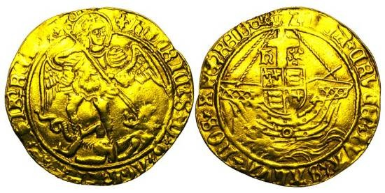 World Coins - ENGLAND.  Henry VIII, 1509-1547 AD, Third Coinage.  Gold Angel (4.96 gm).  St. George slaying dragon / Arms over ship sailing.  S.2299.  VF+, trace of mount.  Scarce.