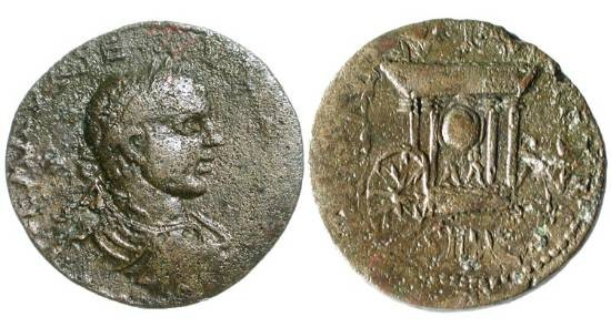 Ancient Coins - PHOENICIA, Sidon.  Severus Alexander 222-235 AD.  Æ 25 (9.61 gm).  Laureate bust  / Car of Astarte.  BMC.319.  VF, brown patina.