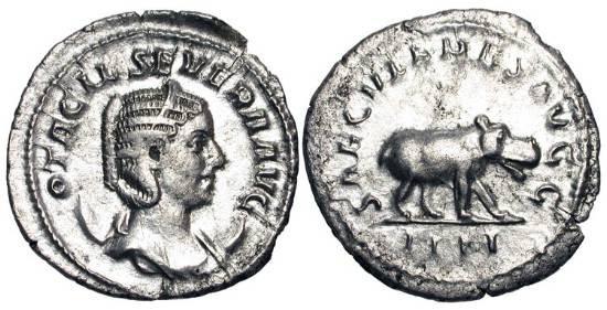 Ancient Coins - OTACILIA SEVERA, wife of Philip I, 244-249 AD.  AR Antoninianus (2.73 gm).  Draped bust / Hippopotamus walking.  RIC.116b.  Toned aXF.  Millennial issue.