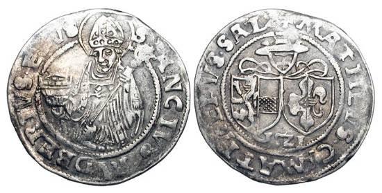 World Coins - AUSTRIA, Salzberg.    Matthias Lang von Wellenburg,1519-1540.  AR Batzen (3.02 gm), 1521.  Half-length bust of St.Rudbert / Double arms.  P.259.  VF.