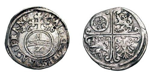 World Coins - GERMANY, Mainz.  Joint coinage with Hesse-Darmstadt, Nassau-Saarbrücken and Frankfurt, 1619-1648 AD.  AR 2 Kreutzer, 1626.  Reichsapfel / Quartered arms.  KM.653.  Toned aXF.