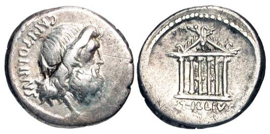 Ancient Coins - ROMAN REPUBLIC.  Petillius Capitolinus, 43 BC.  AR Denarius (3.86 gm).  Head of Jupiter right / Temple of Jupiter Capitolinus.  RSC.Petillia.1.  VF.  Scarce.