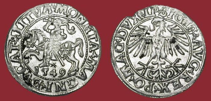 World Coins - LITHUANIA.  Sigismund August, 1547-1572 AD.  AR Half Groschen 1549.  Eagle / Lithuanian knight.   XF+.
