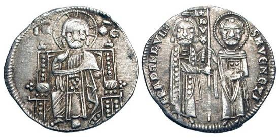 World Coins - ITALIAN STATES, Venice.  Francesco Dandolo, 1329-1339 AD.  AR Grosso (2.18 gm).  Christ enthroned / St. Mark & Doge standing.  Paol.27.2(R1).  Toned aXF.  Scarce and choice.