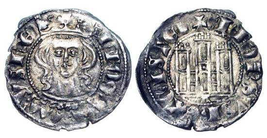 World Coins - SPAIN.  Castile and Leon.  Alfonso XI, 1312-1350 AD.  AR Cornado of Coruna.  Crowned head facing / Castle.  Cay.1194/5.  Toned aXF.  Scarce.