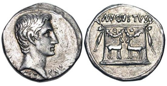 Ancient Coins - AUGUSTUS, 27 BC-14 AD.  AR Cistophoric Tetradrachm (11.09 gm) of Ephesos. Group VI.  Bare head / Garlanded altar with two stags standing at base.  Suth.419a. RIC.479.  Toned VF+.