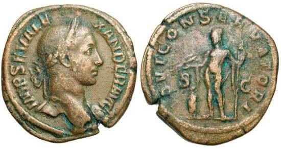Ancient Coins - SEVERUS ALEXANDER, 222-235 AD.  Æ Sestertius.  Laureate bust / Jupiter standing, holding thunderbolt and sceptre, over emperor.  RIC.558.  Large flan.