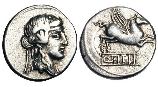 Ancient Coins - ROMAN REPUBLIC.  Q. Titius, 90 BC.  AR Denarius (4.03 gm).  Head of Bacchus / Pegasus flying.  Titia.2.  Craw.341/2.  Toned VF