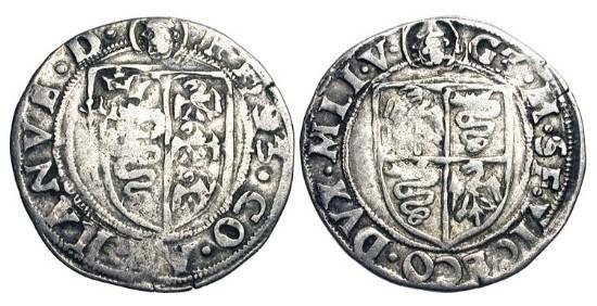World Coins - ITALY, Milan.  Galeazzo Maria Sforza, 1468-1476.  AR Soldino (1.17 gm).  Sforza arms / Milanese arms.  Bi.1556.  N&V.199.  Cr.14.  Toned VF