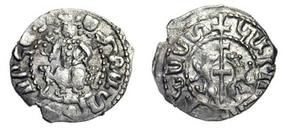 World Coins - ARMENIA.  Smpad, 1296-1298 AD.  AR Tram (2.91 gm).  King enthroned facing holding cross and lis / Two lions flanking long cross.  N.408.  VF.  Rare.