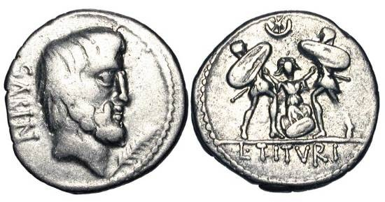 Ancient Coins - ROMAN REPUBLIC.  L. Titurius Lf Sabinus, 89 BC.  AR Denarius (3.73 gm).  Head of Tatius / Tarpeia being buried in shields, held by two soldiers.  Cr.344/2b.  Tituria.4.  Toned VF