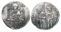 World Coins - ITALY, Venice.  Giovanni Soranzo, 1312-1328 AD.  AR Grosso (2.16 gm). Christ enthroned / St. Mark and Doge standing. Paol.26.2. Toned aXF.  Scarce.