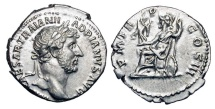 Ancient Coins - HADRIAN, 117-138 AD.  AR Denarius, Rome 123 AD.  Laureate and draped  bust / Roma seated on cuirass, holding Victory and spear, behind shield.  RIC.77.  RSC.1102.   Near Mint.  …
