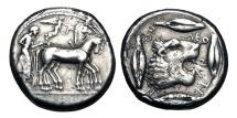 Ancient Coins - SICILY, Leontini.  475-566 BC.  AR Tetradrachm