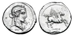 Ancient Coins - ROMAN REPUBLIC.  Q. Titius, 90 BC.  AR Denarius.