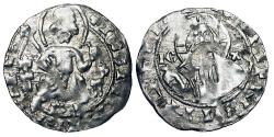World Coins - BULGARIA.  Ivan Sratismir 1371-1396.  AR Grus of Vidin, var.3, light standard.  King enthroned, 8-petaled flower or star beneath / Nimbate bust of Christ.  R&Zh.1.14.9.  …