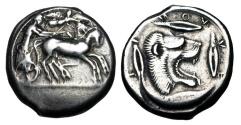 Ancient Coins - SICILY, Leontini.  475-466 BC.  AR Tetradrachm.  ex. D Sellwood collection.