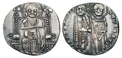 World Coins - ITALIAN STATES, Venice.  Francesco Dandolo, 1329-1339 AD.  AR Grosso (2.20 gm).  Christ enthroned / St. Mark & Doge standing.  Paol.27.2(R1).  Toned aXF.  Scarce and choice.