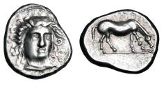 Ancient Coins - THESSALY, Larissa.  405-370 BC.  AR Drachm.  Signed SIMO.