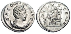 Ancient Coins - SALONINA, wife of Gallienus, 254-268 AD.  AR Antoninianus (3.77 gm) of Lugdunum 257-258 AD.  Draped bust on crescent / Venus seated holding sceptre, chid at feet.  RIC.7.  VF+