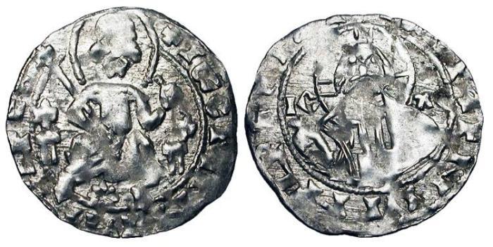 World Coins - BULGARIA.  Ivan Sratismir 1371-1396.  AR Grus of Vidin, var.3, light standard.  King enthroned, 8-petaled flower or star beneath / Nimbate bust of Christ.  R&Zh.1.14.9.  …