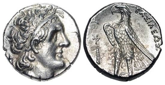 Ancient Coins - PTOLEMAIC KINGDOM.  Ptolemy II Philadelphos, 285-246 BC.  AR Tetradrachm of Tyre.  Diademed head of Ptolemy I / Eagle standing on thunderbolt.  SNG.Cop.482.  XF.  Choice.