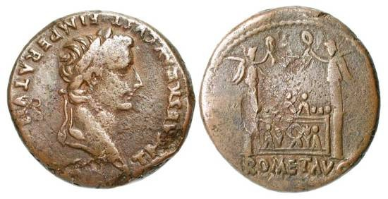 Ancient Coins - TIBERIUS, 14-37 AD.  Æ As (10.91 gm), 12-4.  Laureate head  / Altar of Lugdunum.  RIC.245.  VF+, brown patina,  some minor flan flaws.  Scarce.