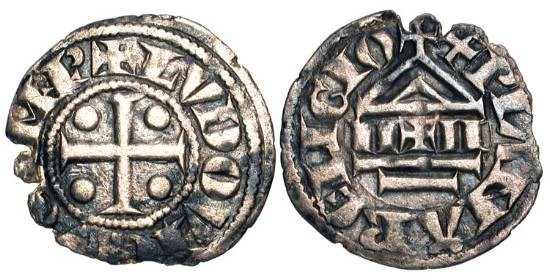 World Coins - SWITZERLAND, uncertain Savoyard mint.  XI-XIII Century AD.  AR Denier.  Cross with pellets / Temple.  HMZ.1-582v.  Toned VF, ragged flan.  In the name of Loius the Pious.