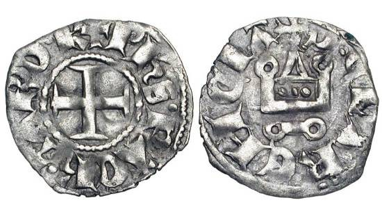 World Coins - FRANKISH GREECE,  Achaea.  Philip of Taranto, 1306-1313 AD.  AR Denier Tournois (0.82 gm).  Cross / Châtel tournois, lis below.  MPS.26a.  Toned VF.