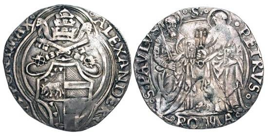 World Coins - ITALY, Papal States.  Alexander VI Borgia, 1492-1503 AD.  AR Grosso of Rome.  Tiara and keys over shield of arms / Sts. Peter and Paul standing with attributes.  Ber.532.