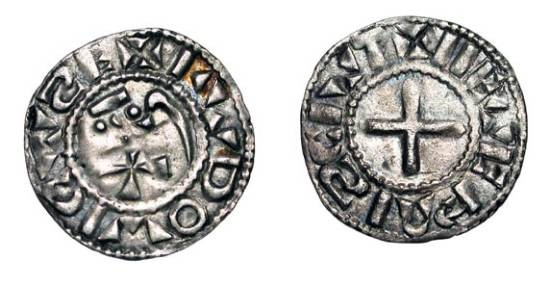 World Coins - FRANCE, Nevers. Anonymous, 1050-1100 AD.  In the name of Louis IV.   AR Denier (0.95 gm).  Degraded REX / Cross.  D.751.   Rob.4163v.  Toned aXF.   Scarce.