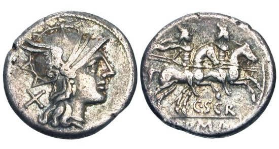 Ancient Coins - ROMAN REPUBLIC.  C. Scribonius, 154 BC.  AR Denarius (3.73 gm).  Helmeted head of Roma / The Dioscuri riding.  Scribonia.1.  Cr.201/1.  Toned VF.