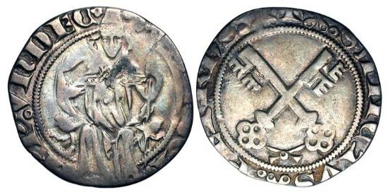 World Coins - ITALY, Papal States.  Gregory XI de Beaufort, 1370-1378 AD.  AR Gros (2.13 gm).  Pope enthroned facing / Crossed keys.  Ber.213.  Toned aVF.