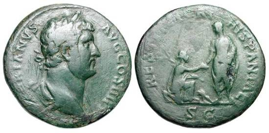 Ancient Coins - HADRIAN, 117-138 AD. Æ Sestertius (24.69 gm), 136.  Laureate bust / Emperor raising kneeling Hispania.  RIC.952.  aVF, green patina some smoothing.  Part of Travel Series.  Scarce.