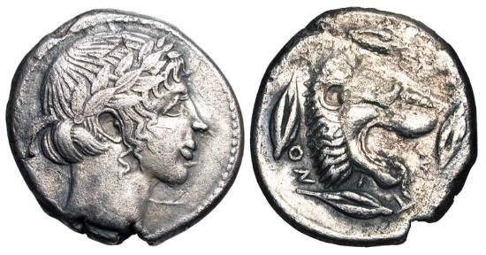 Ancient Coins - SICILY, Leontinoi.  455-430 BC.  AR Tetradrachm (17.27 gm).  Laureate head of Apollo / Lion head , three grains and a leaf around.  SNG.ANS.257.