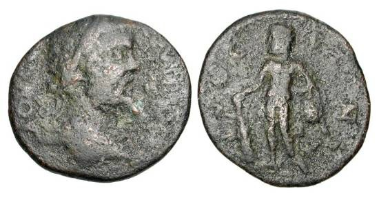 Ancient Coins - LAKONIA, Gytheion.  Septimus Severus, 193-211 AD.  Æ Assarion.  Laureate head / Hercules standing holding club and lionskin.  BCD.966.  Fine, green black patina.  Rare.  …