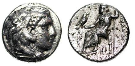 Ancient Coins - KINGDOM of MACEDON.  Alexander III the Great, 336-323 BC.  AR Drachm of Abydus 328-323 BC.  Head of Herakles in lion-skin / Zeus enthroned holding eagle and sceptre.  P.1501.   VF
