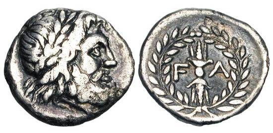 Ancient Coins - ELIS, Olympia. 250-210 BC.   AR Hemidrachm (2.27 gm).  Laureate head of Zeus / Thunderbolt in wreath. BCD.228.    Toned VF.  Rare.  Site of Ancient Olympics.  ex. BCD Collection.