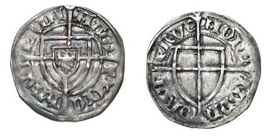 World Coins - GERMANY, Teutonic Order.  Michael v. Sternberg, 1414-1422 AD.  AR Schilling.  Shield of arms of grandmaster / Shield of arms of order over long cross.  Neu.18.  Scarce variety.