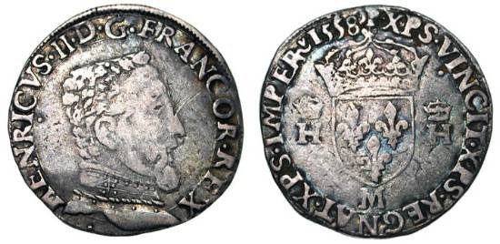 World Coins - FRANCE.  Henri II, 1547-1559 AD.  AR Teston (9.26 gm), 2nd type, Toulouse, 1558 M.  Armoured bust / Crowned shield of arms.  DuP.983.  Toned Fine+.