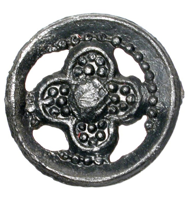 World Coins - Pewter Royalist Badge.  English, XIV-XV Century AD.  .Badge with four-petal Tudor rose in circular frame with pin back.  16 mm.  Missing pin, otherwise intact and choice.