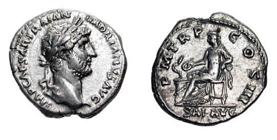 Ancient Coins - HADRIAN, 117-138 AD.  AR Denarius (3.27 gm). Bare head / Salus seated feeding serpent.  RSC.1324.  RIC.137a.  VF+.