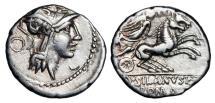 Ancient Coins - ROMAN REPUBLIC.  D. Silanus L. f., 91 BC.  AR Denarius.