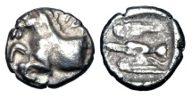 Ancient Coins - KINGDOM OF THRACE. Sparadakos, 445-435 BC.  AR Diobol.  Rare.