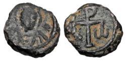 Ancient Coins - BYZANTINE EMPIRE.  Justinian I, 527-565 AD.  Æ Nummus.  Very Rare.