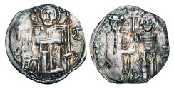 World Coins - SERBIA, Stefan Uros III, 1321-1331 AD.  AR Grosch (1.41 gm).   Christ enthroned facing / King standing with St. Stephen.  Jov.7.13.v(M-B[retrograde] Toned VF.