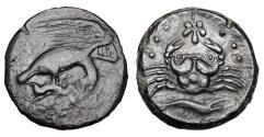 Ancient Coins - SICILY, Akragas.  425-406 BC.  ® Hemilitron.  Rare and Important.